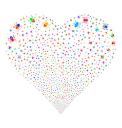 Mite fireworks heart vector