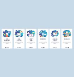 Mobile app onboarding screens 3d printer vector