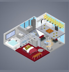 modern duplex apartment interior isometric vector image