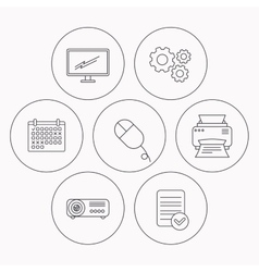 Monitor printer and projector icons vector