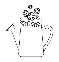 monochrome silhouette of watering can and vector image