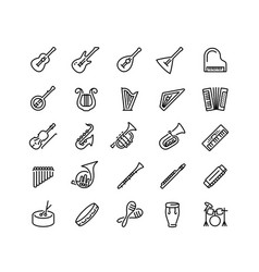 musical instruments icon set in outline style vector image
