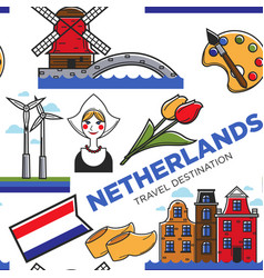Netherlands national symbols seamless pattern vector