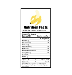 Nutrition facts banana vector