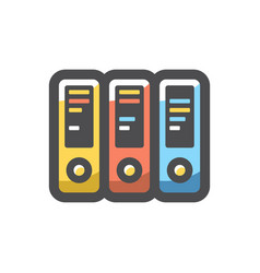 office folders colored ring binders icon vector image