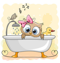 owl in the bathroom vector image