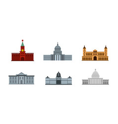 President building icon set flat style vector