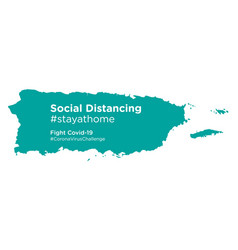 Puerto rico map with social distancing stayathome vector