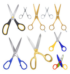 Realistic scissor family collection vector