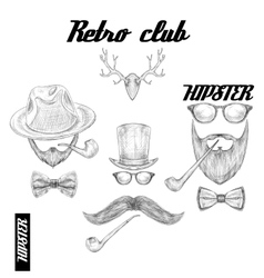 Retro hipster club accessories vector image