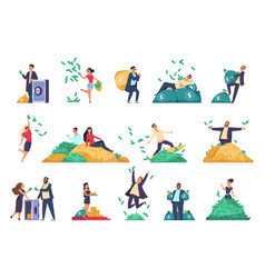 rich people successful characters throwing vector image