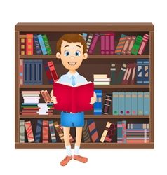 school boy reading a book vector image