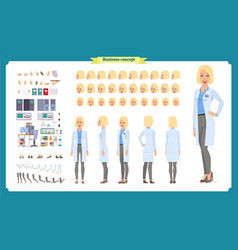 scientist character creation set woman vector image