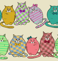 seamless pattern funny fat cats vector image
