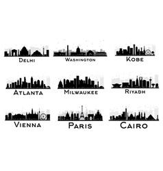 Set city skyline black and white silhouette vector