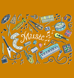 set musical symbols and icons guitar drums vector image