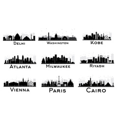 Set of City Skyline Black and White Silhouette vector image