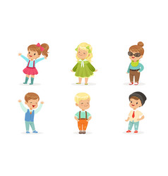 set of cute toddlers in colorful wears in motion vector image