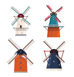 set of traditional rural windmill vector image