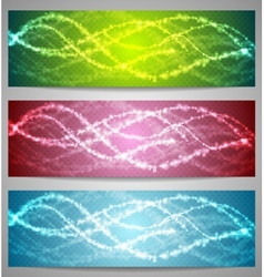 Shiny iridescent banners design vector