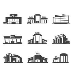 shopping mall or store icon set vector image
