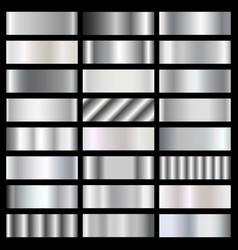 Silver steel chrome gradients set vector