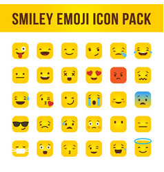 Smiley emoji square icon pack vector