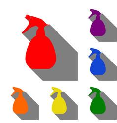 spray bottle for cleaning sign set of red orange vector image