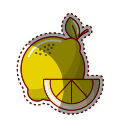 Sticker lemon fruit icon stock vector