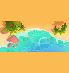 summer ocean beach with palm trees top view vector image