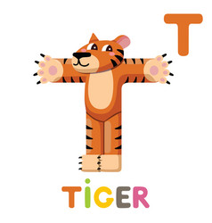 t is for tiger letter t tiger cute animal vector image
