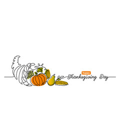 thanksgiving day line art background with horn vector image