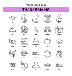 Thanksgiving line icon set - 25 dashed outline vector