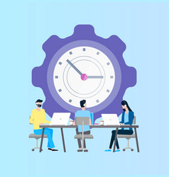 time management online support workers at laptop vector image
