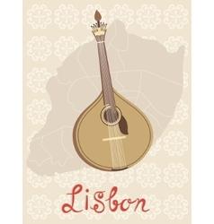 Tipical portuguese fado guitar over Lisbon map and vector image vector image