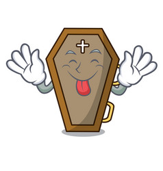 Tongue out coffin mascot cartoon style vector