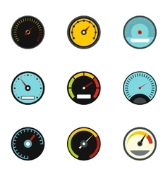 Types of speedometers icons set flat style vector