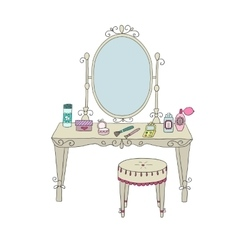 Vanity table with makeup and a chair vector image