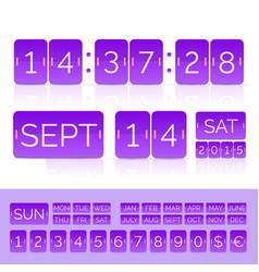 Violet flat calendar with analog flip timer vector