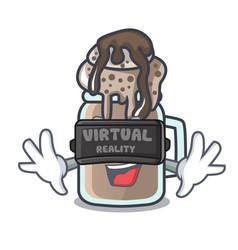 Virtual reality milkshake mascot cartoon style vector