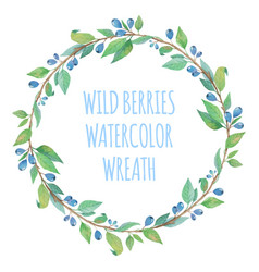 watercolor wreath with berries vector image