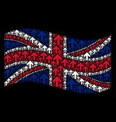 Waving united kingdom flag pattern of arrow vector