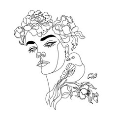 woman line drawing face with bird and flowers vector image