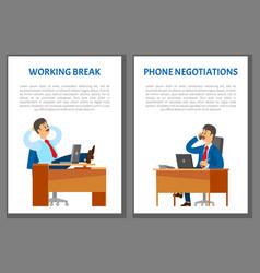 Working break and phone negotiations vector