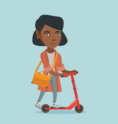 young african business woman riding kick scooter vector image