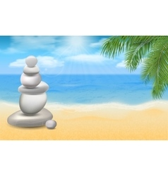 balanced stones on sea beach with palm trees vector image vector image