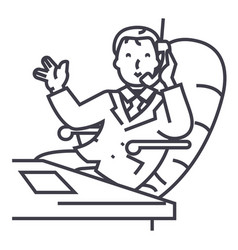 businessman in office with phone line icon vector image