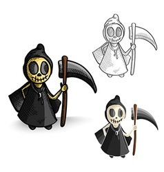 Halloween monsters isolated spooky reapers set vector image vector image