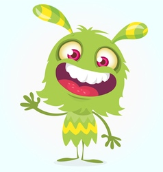 Happy cartoon green and fluffy monster vector image vector image