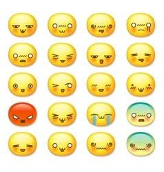 Set of cute smiley emoticons emoji vector image vector image